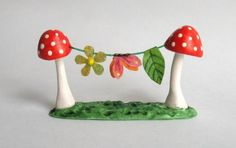 Miniature FAIRY WHIMSY TOADSTOOL CLOTHESLINE by artist C.