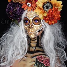 """Our Dead are not dead until we have forgotten them."" Beautiful Day of the Dead Makeup By SUPER Talented MUA Eva Lamorte ♡♥♡♥♡♥ Diy Halloween, Halloween Looks, Halloween Cosplay, Halloween Costumes, Halloween Face Makeup, Sugar Skull Makeup, Sugar Skull Art, Sugar Skulls, Candy Skulls"