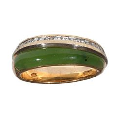 Jade Diamond Two Color Gold Ring