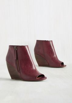 Kick and Choose Bootie in Merlot - Red, Solid, Exposed zipper, Work, Casual, Graduation, Minimal, Fall, Mid, Better, Wedge, Peep Toe, Ankle, Red, Saturated, Faux Leather, Variation