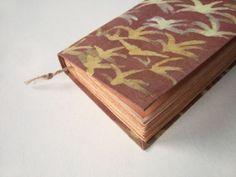 magic palm   batik fabric journal antique diary notebook by Patiak,
