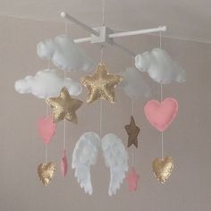 Baby mobile - Baby girl mobile - Cot mobile - Angel wings, clouds, hearts and stars mobile - Cloud Mobile - Nursery Decor - gold and pink.: