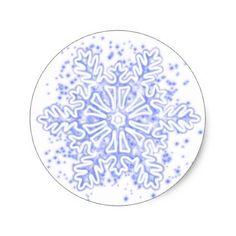 Snow flake classic round sticker - christmas craft supplies cyo merry xmas santa claus family holidays