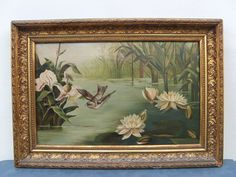 Incredible Antique 1900s Victorian Oil Painting Bird & Flowers