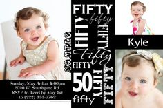 50th Fifty Birthday Invitation ANY COLOR SCHEME - Get these invitations RIGHT NOW. Design yourself online, download and print IMMEDIATELY! Or choose my printing services. No software download is required. Free to try!