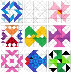 Fish and pinwheel quilt blocks.