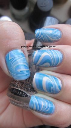 My girls will love this. Water marble. Pour a few drops of different nail polishes in a bowl of water. The polish should float on the top. Swirl with a toothpick and dip your nails.