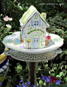 Garden Totem Stake Home Sweet Home Cottage by GardenWhimsiesByMary, $30.00