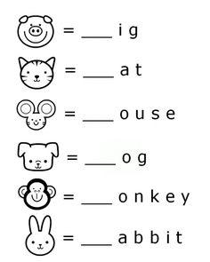 FREE Preschool printable beginning sounds letter animal words worksheet