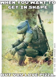 When you want to get in shape but you love pizza. Teenage Mutant Ninja Turtles/TMNT meme