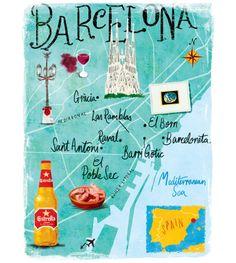 Barcellona mappa nel negozio ora.