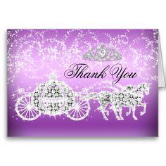 Shop Purple Sparkle Princess Theme Thank You Card created by Zizzago. Princess Sweet 16, Princess Theme, Sweet 16 Birthday, 16th Birthday, Sweet 16 Gifts, Purple Sparkle, Custom Thank You Cards, Birthday Invitations, Prints