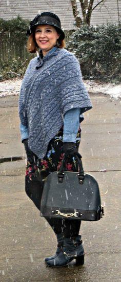 Winterizing a summer dress, Over 40 fashion blogger