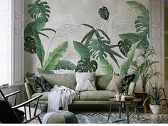 Southeast Asian rainforest plant wall murals wall decor, green leaves shrub wallpaper mural, tropical landscape wallpaper - Projects to Try - Welcome Haar Design Tropical Landscaping, Tropical Decor, Tropical Plants, Wallpaper Wall, Leaves Wallpaper, Plant Wallpaper, Rainforest Plants, Estilo Tropical, Cleaning Walls