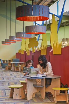 A cozy space to read in the City of Wylie's library. Designed by Holzman Moss Bottino Architecture.