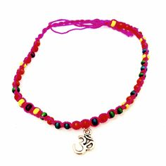 Pink Beaded Om Anklet-£2 #prettytwisted #jewellery #anklet #omsign #charm http://prettytwistedonline.co.uk/product/pink-beaded-om-symbol-anklet/