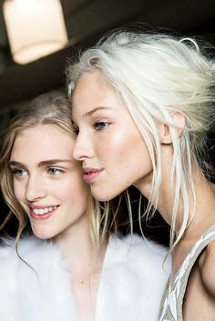Gleaming cheekbones and soft natural eyes // Hedvig Palm & Sasha Luss backstage at Michael Kors Spring/Summer 2014 #makeup