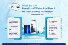 Water is essential for all life forms, from plants and animals to humans. Here are a few benefits that you can get if you consume purified water: 1. It provides more energy throughout the day. 2. It allows better exercise for a better life. 3. It ensures that your skin remains healthy and glowing. 4. It helps you to lose weight. Safe Drinking Water, Purified Water, Water Benefits, Life Form, Better Life, Infographics, Your Skin, Lose Weight, Exercise