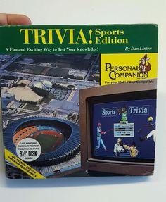 """Trivia Sports Edition PC Compatible 3 1/2"""" disk in box IBM PC Personal Companion"""
