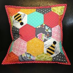 Sweet As Honey Pillow by HappierThanABirdQuilts, via Flickr