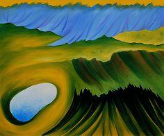 Georgia O'Keeffe Famous Paintings | Mountains and Lake - Georgia O'Keeffe - WikiPaintings.org