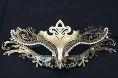 Metal Black Gold Masquerade Mask with Rhinestones -  Venetian Masks Laser Cut Metal Masquerade Ball Masks on Etsy, $34.95
