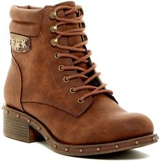 ROCK AND CANDY Joli Studded Military Boot ($40) ❤ liked on Polyvore featuring shoes, boots, brown o, brown combat boots, army boots, camo combat boots, laced boots and camouflage boots