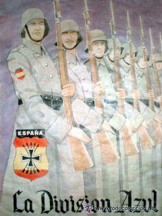 CARTEL PROPAGANDA DIVISIóN AZUL - MEDIDAS 29,5 X 41,5 cm (Militar - Propaganda y Documentos)