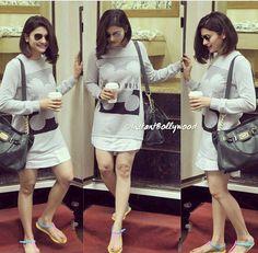 Prachi Desai in a casual shirt dress Indian Actress Photos, Indian Actresses, Diy Dress, Shirt Dress, Girl Short Hair, Hair Girls, Western Outfits Women, Prachi Desai, Bollywood Actress