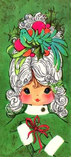 Cute holiday girl vintage Christmas card. The style of the bouffant hair and the illustration are both very 1960s.