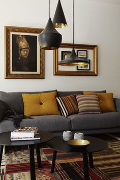 OR THAT: LIVING ROOM LIGHTING Modern bohemian style living room. Love the grey mixed with yellow, brown and orange. Love the grey mixed with yellow, brown and orange. Home Living Room, Living Room Designs, Living Room Decor, Living Spaces, Apartment Living, Copper Living Room, Dining Room, Decor Room, Dining Table