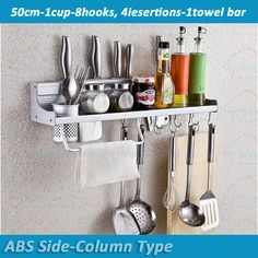 50cm-8Hooks-1Cup бесплатная доставка настенные кухонный инвентарь, Ножи организатор полка для нож блок, Wholesale-2150b