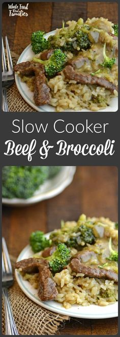 Slow Cooker Beef and Broccoli with Brown Rice is tastier than takeout and as simple as turning on the crockpot!  @wholefoodrealfa