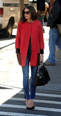 olivia // red coat, black points + denim