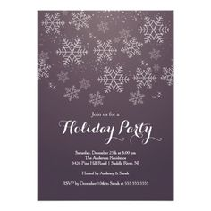 Modern White snowflakes set on a dark plum purple background christmas party invitation.  Flip our winter snowflake invite over to view a full snowflake back for an extra special touch.