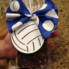 Volleyball treats with napkin bow... for Carolyn's team!