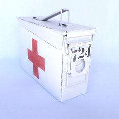 Red Cross FIRST AID BOX/ Upcycled Ammo Box by orangedoorcottage