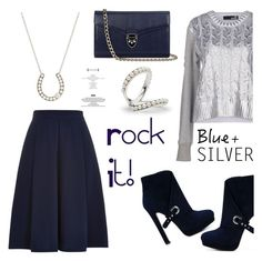 """""""Rock This Look: Blue and Silver"""" by littlehjewelry ❤ liked on Polyvore featuring Love Moschino, Louche, Alexander McQueen, Aspinal of London, contestentry, colorchallenge, blueandsilver, pearljewelry and littlehjewelry"""