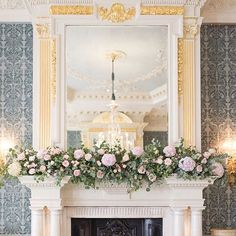 Flowers by Philippa Craddock at claridges. A beautiful mantelpiece floral runner or mantlepiece flower garland. With eucalyptus, hydrangea and roses. Perfect for a spring or summer wedding! Claridges is an amazing venue xx