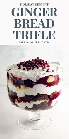 This magnificent gingerbread trifle will feed — and wow — a crowd. It makes a festive holiday dessert that bursts with the flavors of the season. And it's make-ahead friendly! Desserts Gingerbread Trifle: A Favorite Holiday Dessert Make Ahead Desserts, Christmas Desserts, Easy Desserts, Delicious Desserts, Dessert Recipes, Creative Desserts, Christmas Goodies, Christmas Ideas, Easy Cookie Recipes