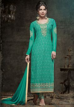 Embroidered Georgette Straight Cut Suit in Teal Green
