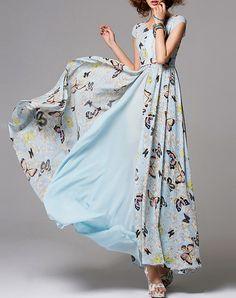 #AdoreWe #VIPme Swing Dresses - HZY Fashion Floral Sleeveless Beach Maxi Dress - AdoreWe.com