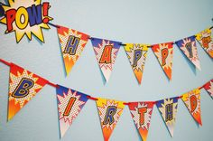 Superhero Party Happy Birthday Banner / Comic by HeartsandCraftsy, $6.50