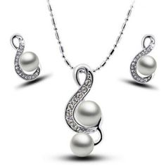 Glamourous Women's Solid Color Faux Pearl Pendant Embellished Necklace and A Pair of Earrings -$3.47-  Gender: For Women Material: Pearl Metal Type: Alloy Style: Trendy Shape/Pattern: Others Length: 40–45CM Weight: 0.08KG Package: 1 x Collarlace 1 x Earrings(pair