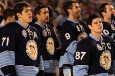 Sidney Crosby and Evgeni Malkin Photo - 2011 NHL Bridgestone Winter Classic - Washington Capitals v Pittsburgh Penguins