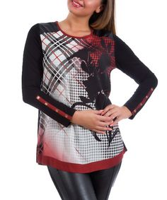 Black Plaid Floral Button-Sleeve Top - Plus #zulily #zulilyfinds