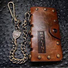 Bailini Vintage Metal Studded Leather Biker Leather Wallet, Trucker Wallet, Men's Wallet, Long Wallet, Wallet Chain