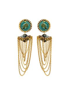 Hanging golden coloured chains are the feature of these earrings. Pair with your favourite contemporary looks for a stylish finishing touch.