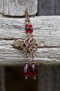 gabi111 / Červené kvapky s ornamentom - náušnice