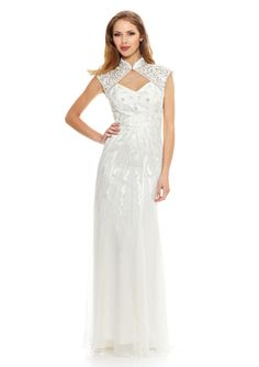 SUE WONG Mock Neck Embroidered Gown